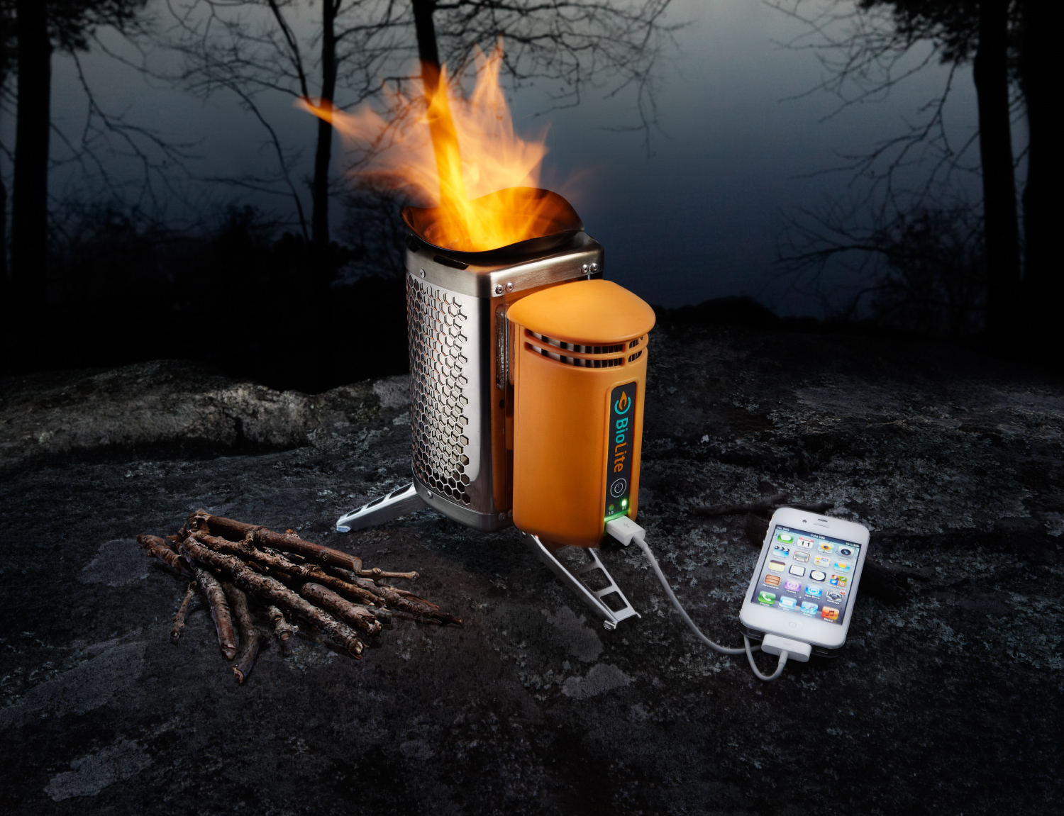 BioLite camp stove with thermoelectric generator
