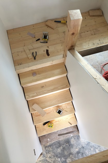 We Used Southern Yellow Pine For The Stair Treads. Weu0027ll Make Sure To  Install The Skirtboards First Next Time.